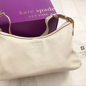 Kate Spade white leather handbag -roomy, pristine